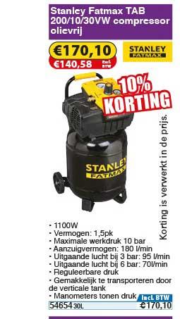 Toolstation Stanley Fatmax Tab 200 10 30vw Compressor Olievrij