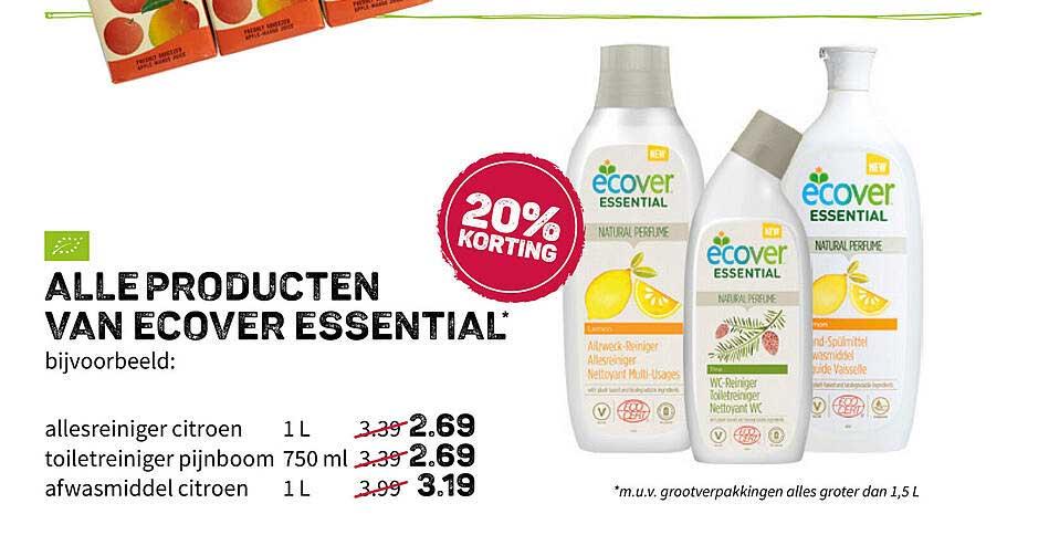 Ekoplaza Alle Producten Van Ecover Essential 20% Korting