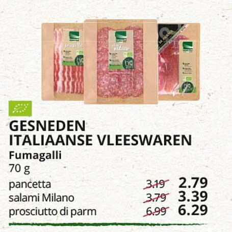 Natuurwinkel Gesneden Italiaanse Vleeswaren Fumagalli