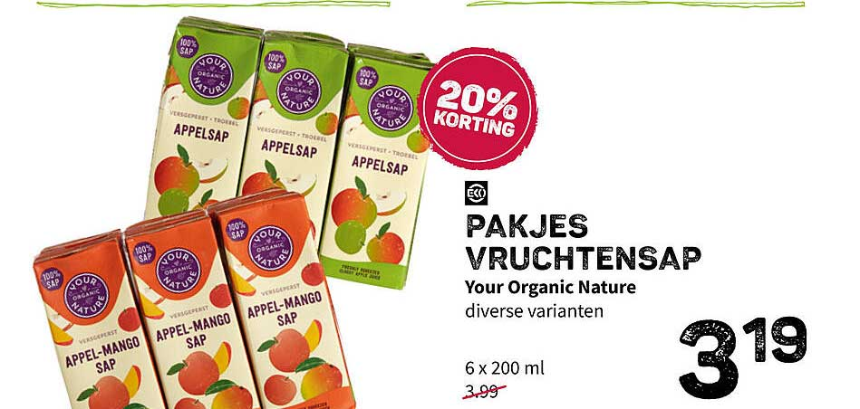 Ekoplaza Pakjes Vruchtensap Your Organic Nature 20% Korting