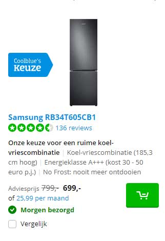 Coolblue Samsung RB34T605CB1 Koel-Vriescombinatie