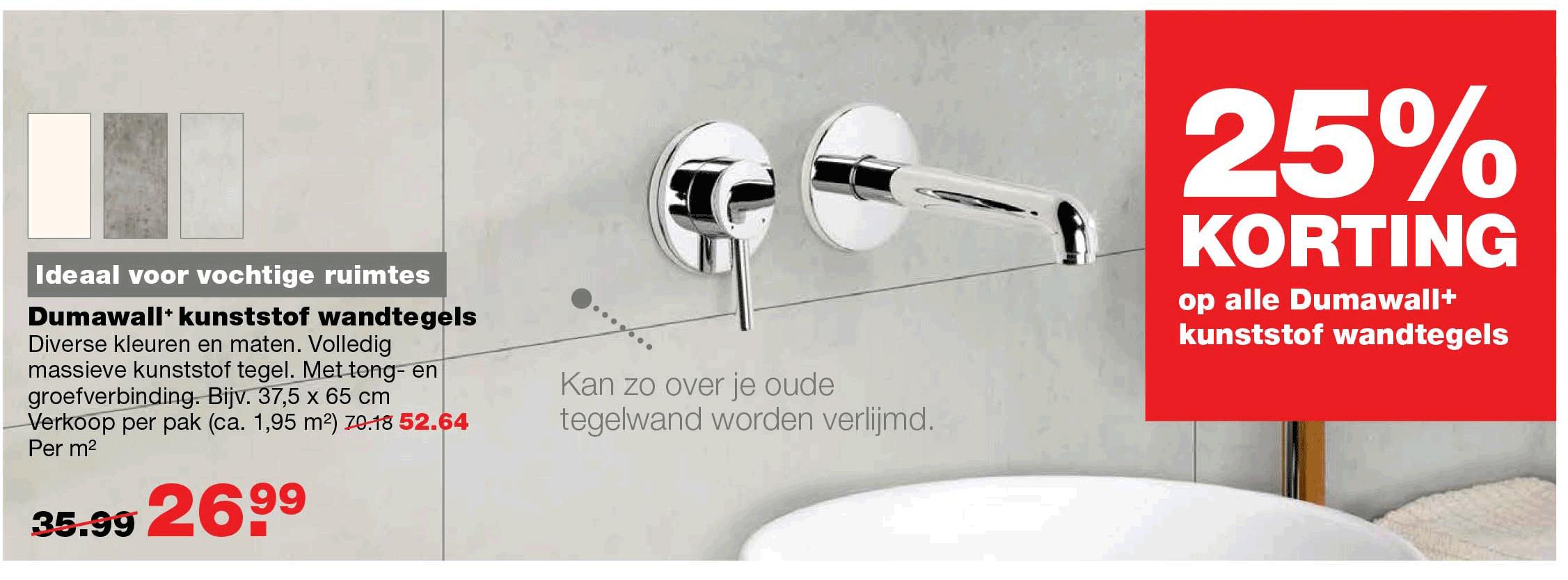 Praxis 25% Korting Op Alle Dumawall+ Kunststof Wandtegels
