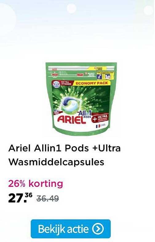 Plein Ariel Allin1 Pods +Ultra Wasmiddelcapsules 26% Korting