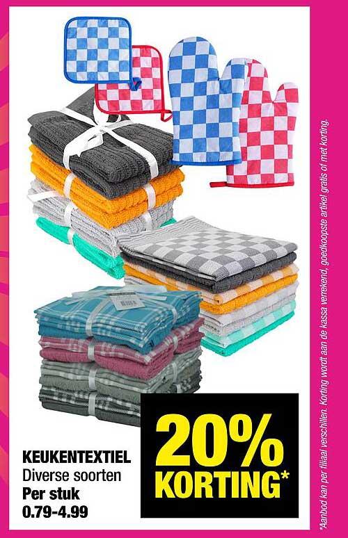 Big Bazar Keukentextiel 20% Korting