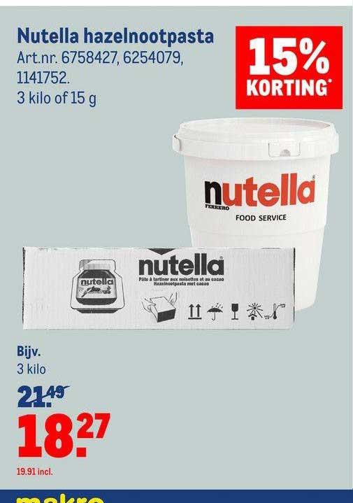 Makro Nutella Hazelnootpasta 15% Korting