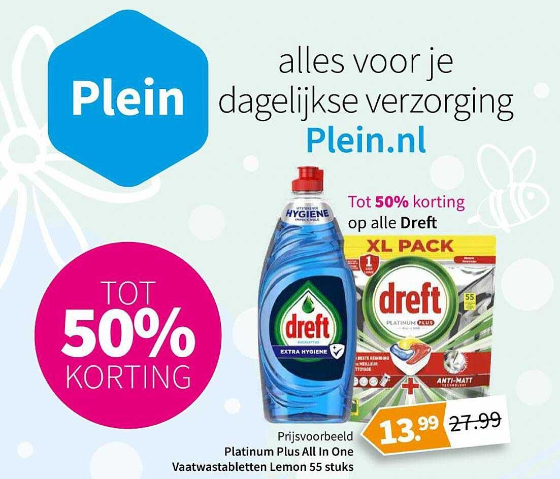 Plein Op Alle Dreft : Platinum Plus All In One Vaatwastabletten Lemon 55 Stuks Tot 50% Korting