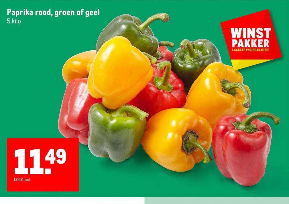 Makro Paprika Rood, Groen Of Geel
