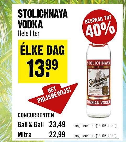 Dirck III Stolichnaya Vodka 40% Korting