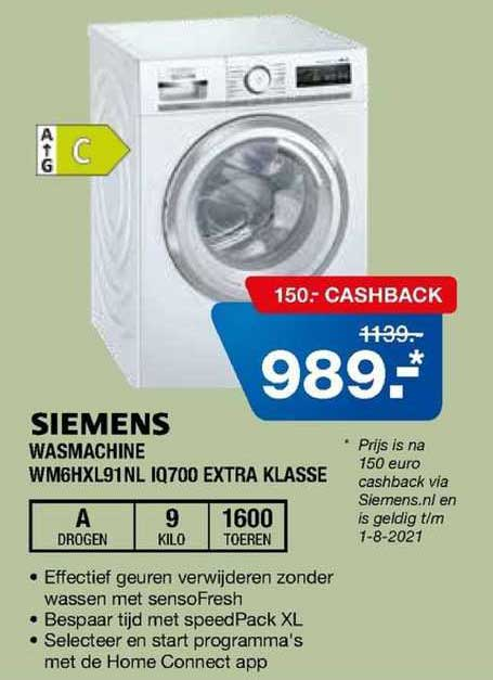Electro World Siemens Wasmachine WM6HXL91NL IQ700 Extra Klasse