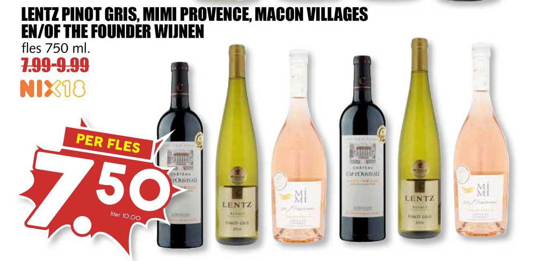 MCD Supermarkt Lentz Pinot Gris, Mimi Provence, Macon Villages En-of The Founder Wijnen