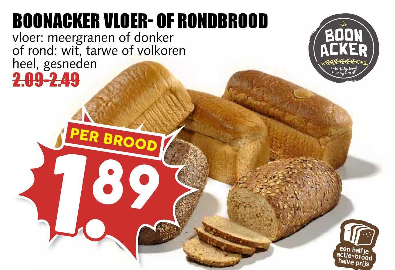 MCD Supermarkt Boonacker Vloer- Of Rondbrood Vloer: Meergranen Of Donker Of Rond : Wit, Tarwe Of Volkoren Heel, Gesneden