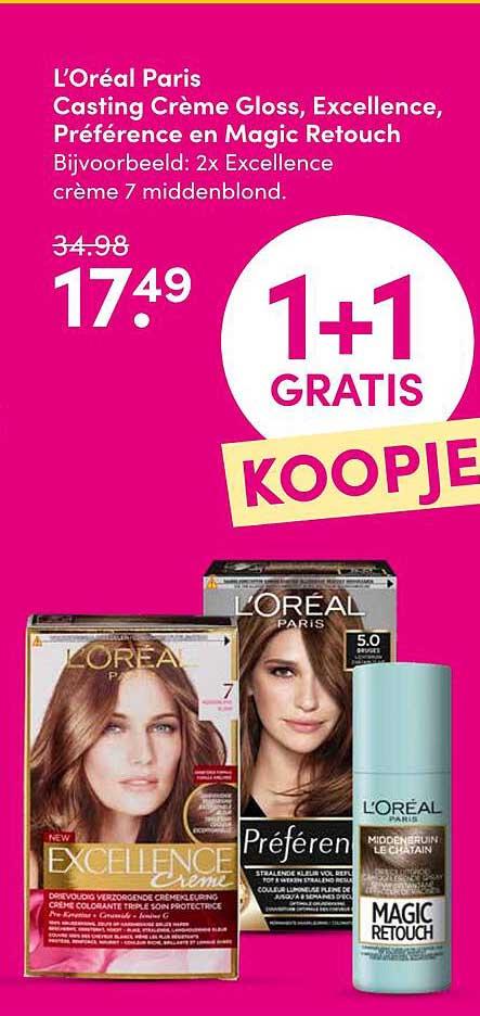 DA L'Oréal Paris Casting Crème Gloss, Excellence, Préférence En Magic Retouch 1+1 Gratis