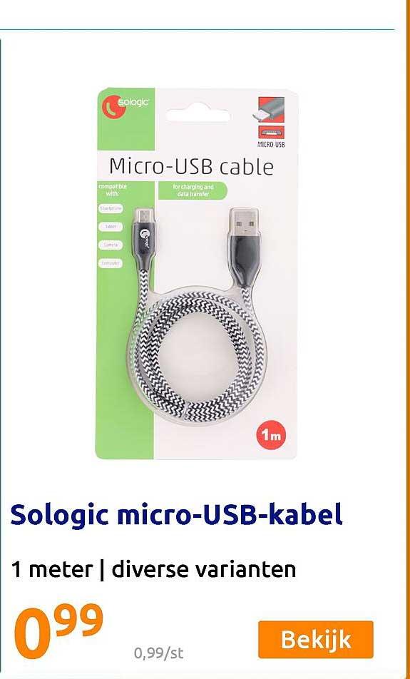 Action Sologic Micro-USB-Kabel 1 Meter