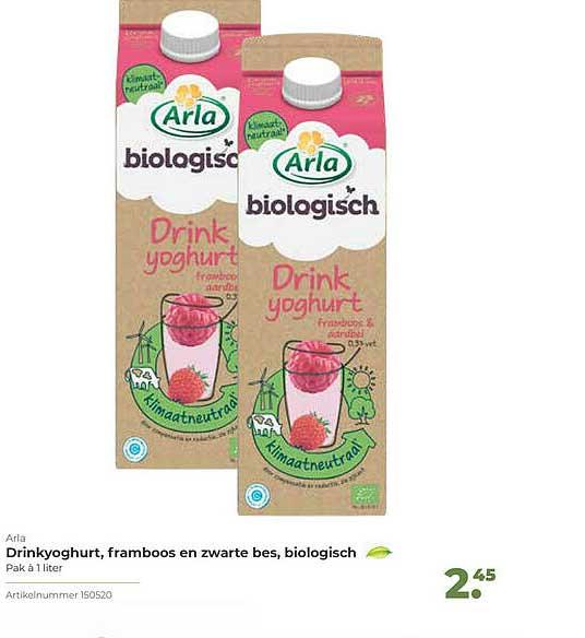 Bidfood Arla Drinkyoghurt, Framboos En Zwarte Bes, Biologisch