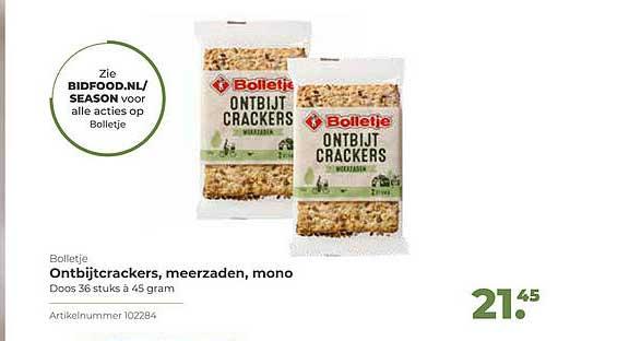 Bidfood Bolletje Ontbijtcrackers, Meerzaden, Mono