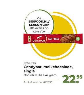 Bidfood Cote D'Or Candybar, Melkchocolade, Single
