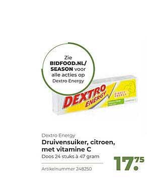 Bidfood Dextro Energy Druivensuiker, Citroen, Met Vitamine C