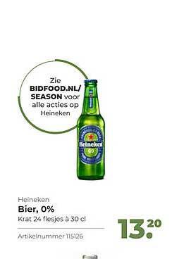 Bidfood Heineken Bier, 0%