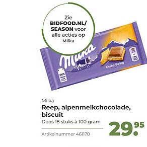Bidfood Milka Reep, Alpenmelkchocolade, Biscuit