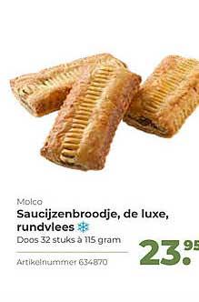Bidfood Molco Saucijzenbroodje, De Luxe, Rundvlees