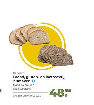 Bidfood Panesco Brood, Gluten- En Lactosevrij, 2 Smaken