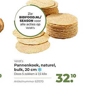 Bidfood Veldt's Pannenkoek, Naturel, Bulk, 20 Cm