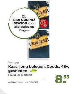 Bidfood Vergeer Kaas, Jong Belegen, Gouds, 48+, Gesneden
