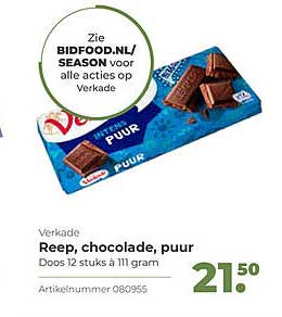 Bidfood Verkade Reep, Chocolade, Puur