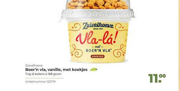 Bidfood Zuivelhoeve Boer'n Vla, Vanille Met Koekjes