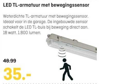 Multimate LED Tl Armatuur Met Bewegingssensor