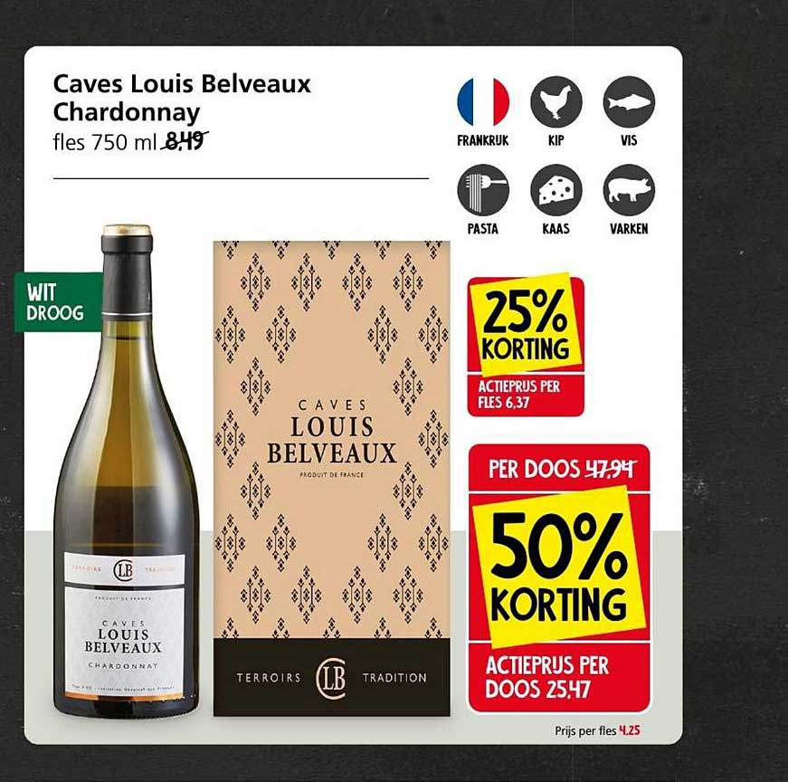 Jan Linders Caves Louis Belveaux Chardonnay 25% - 50% Korting