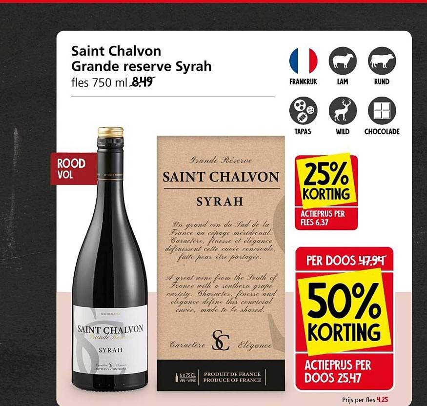 Jan Linders Saint Chalvon Grande Reserve Syrah 25% - 50% Korting
