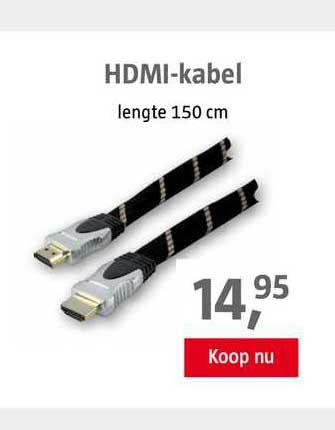 BAUHAUS HDMI-Kabel 150 Cm Wit En Zwart