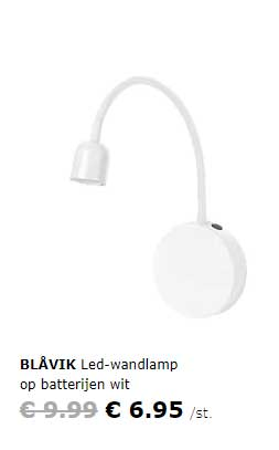 IKEA Blavik Led Wandlamp Op Batterijen Wit