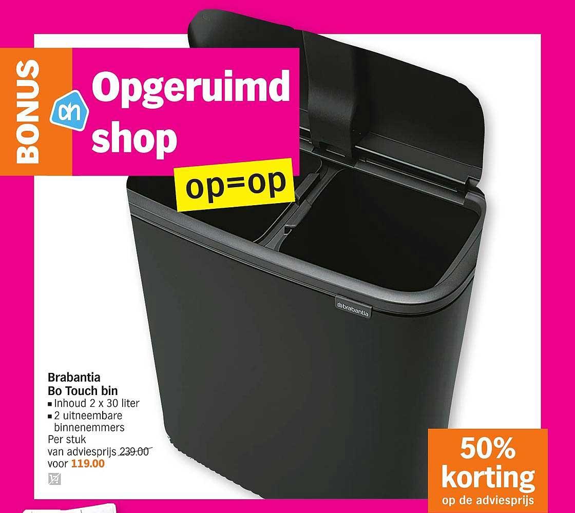 Albert Heijn Brabantia Bo Touch Bin: 50% Korting