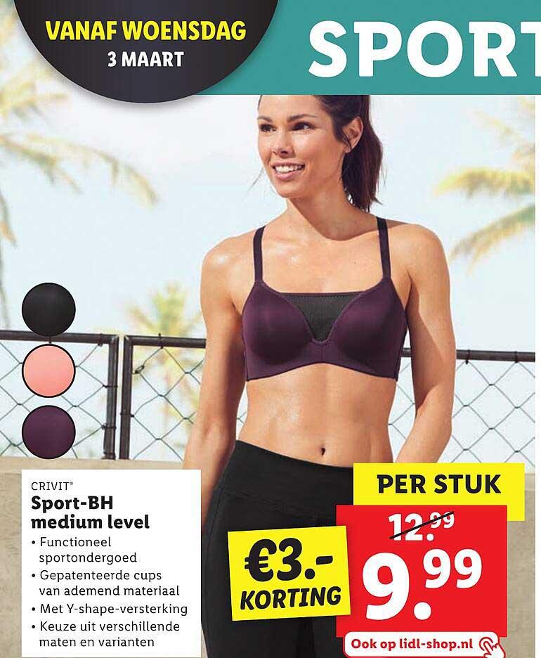 Lidl Crivit Sport-BH Medium Level €3.- Korting