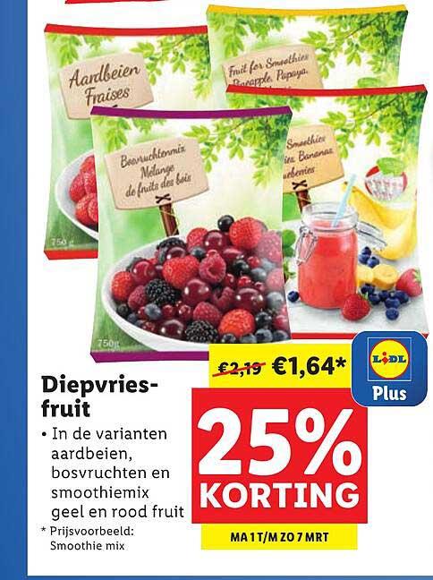 Lidl Diepvriesfruit 25% Korting