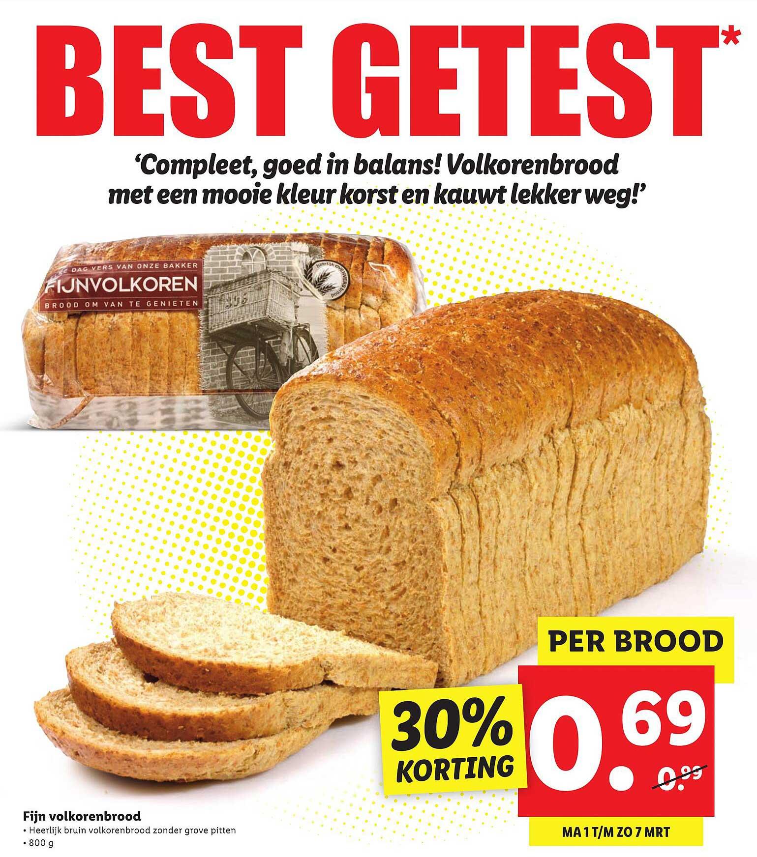 Lidl Fijn Volkorenbrood 30% Korting