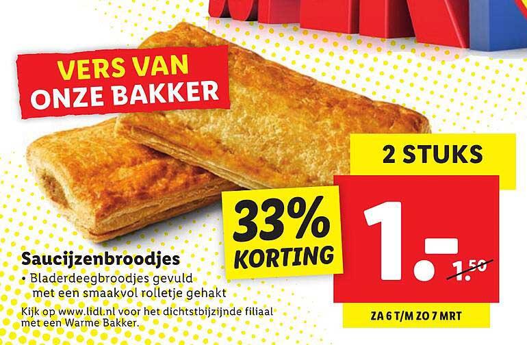 Lidl Saucijzenbroodjes 33% Korting