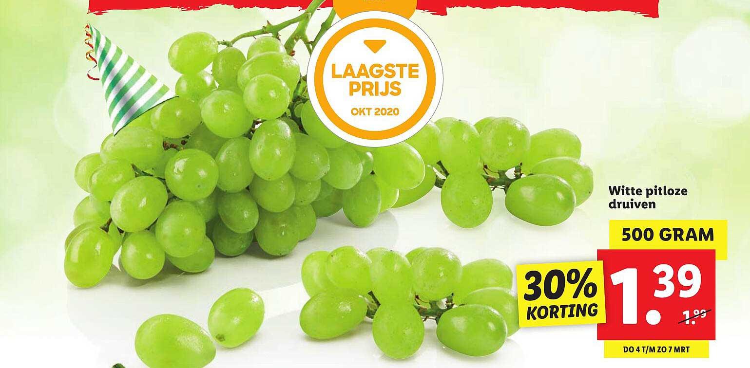 Lidl Witte Pitloze Druiven 30% Korting