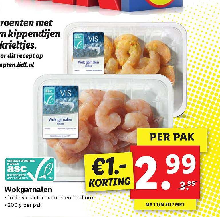 Lidl Wokgarnalen €1.- Korting