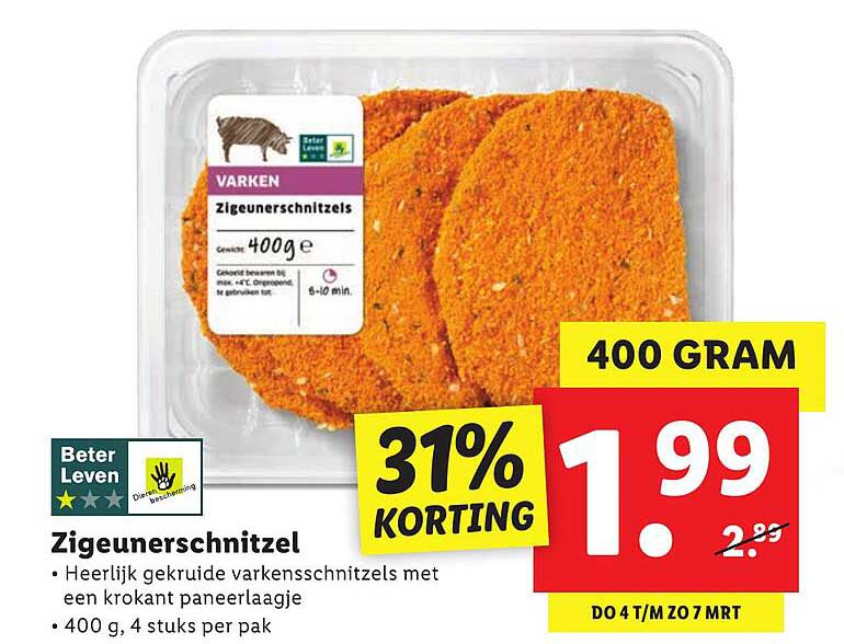 Lidl Zigeunerschnitzel 31% Korting