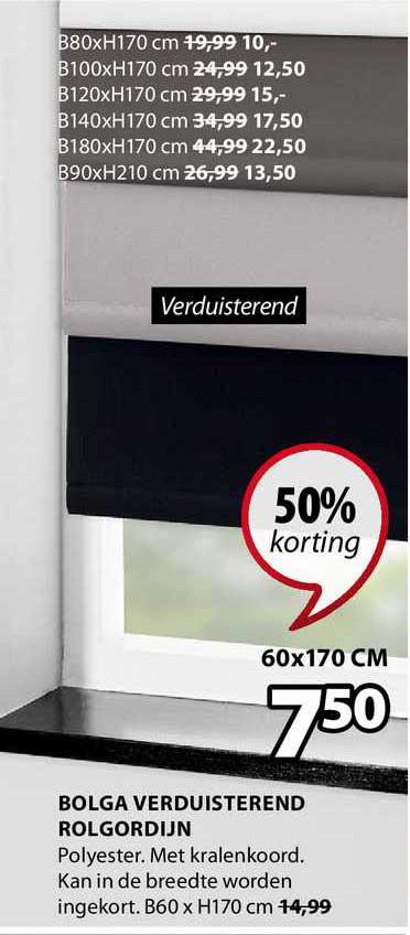 Jysk Bolga Verduisterend Rolgordijn 50% Korting