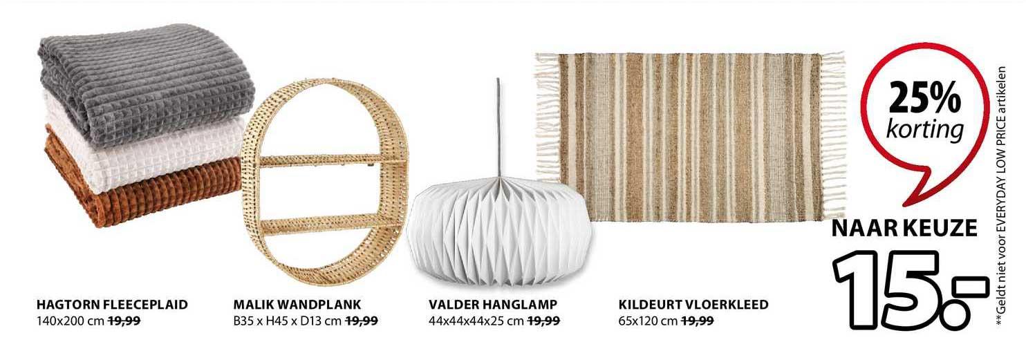 Jysk Hagtorn Fleeceplaid, Malik Wandplank, Valder Hanglamp Of Kildeurt Vloerkleed 25% Korting