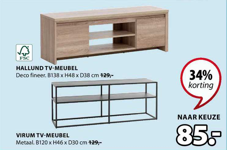 Jysk Hallund TV-Meubel B138 X H48 X D38 Cm Of Virum TV-Meubel B120 X H46 X D30 Cm 34% Korting