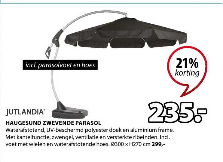 Jysk Jutlandia Haugesund Zwevende Parasol 21% Korting