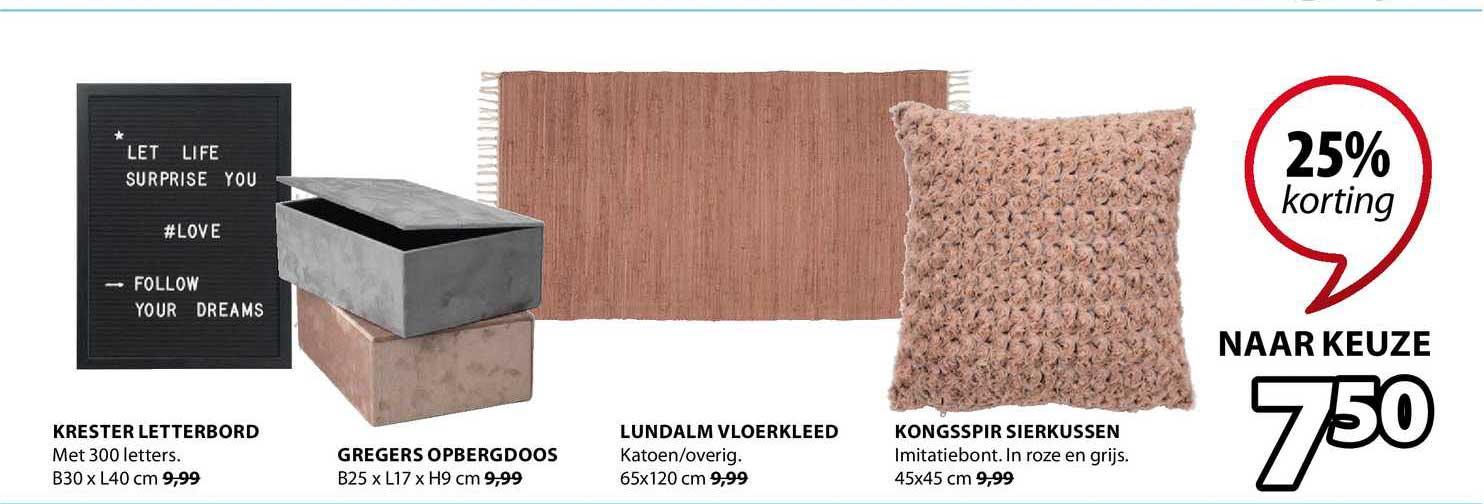 Jysk Krester Letterbord, Gregers Opbergdoos, Lundalm Vloerkleed Of Kongsspir Sierkussen 25% Korting