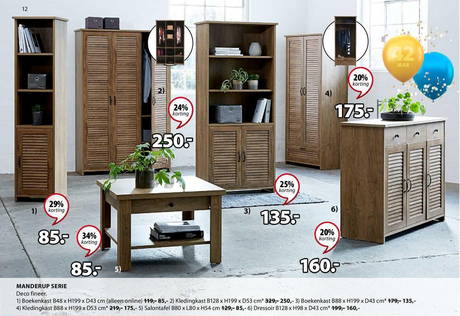 Jysk Manderup Serie : Boekenkast, Kledingkast, Salontafel Of Dressoir 20% - 34% Korting