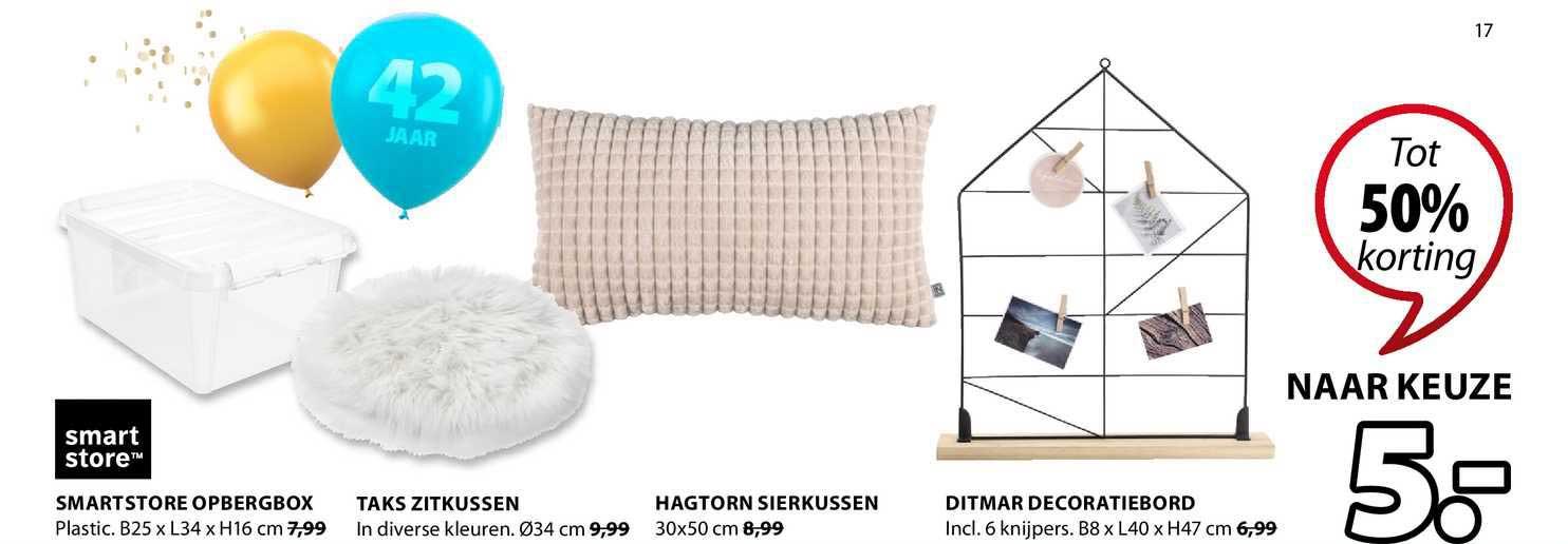 Jysk Smartstore Opbergbox, Taks Zitkussen, Hagtorn Sierkussen Of Ditmar Decoratiebord Tot 50% Korting