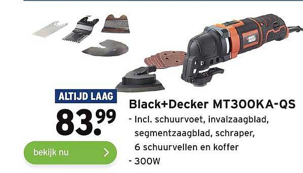 Gamma Black+Decker MT300KA-QS Incl. Schuurvoet, Invalzaagblad, Segmentzaagblad, Schraper, 6 Schuurvellen En Koffer